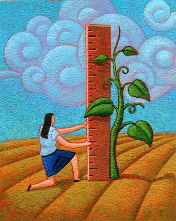 Woman Measuring Plant