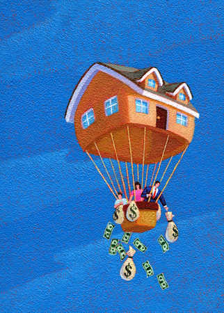 Family In House Hot Air Balloon