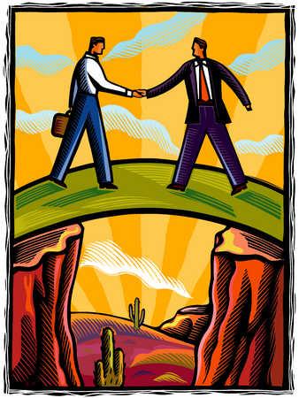 Businessmen Shaking Hands On A Bridge