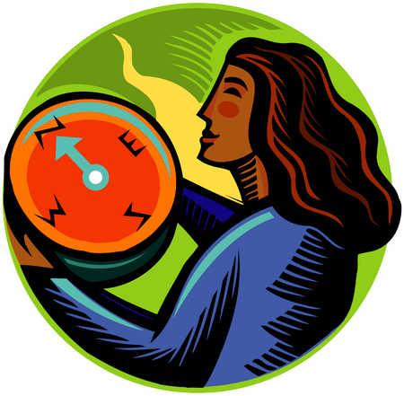 Woman Looking At Compass