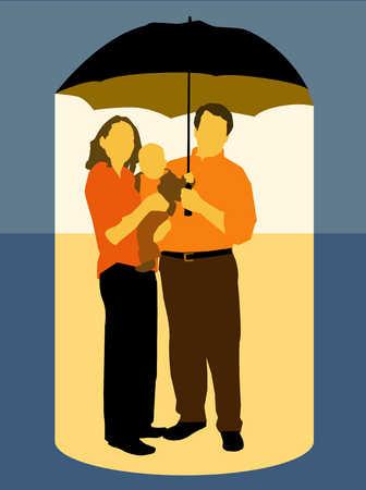Family Underneath An Umbrella