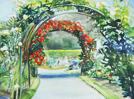 Garden Path With Flowering Arbor