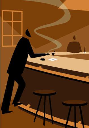 Man standing at a bar smoking