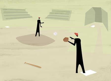 Two figures playing baseball