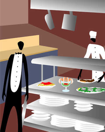 Waiter and chef in a restaurant kitchen
