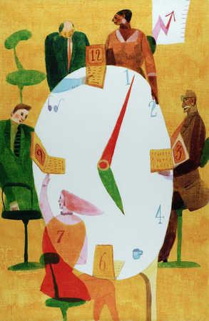 Business meeting around a clock