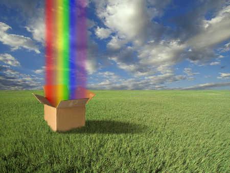 Rainbow Emerging From Cardboard Box