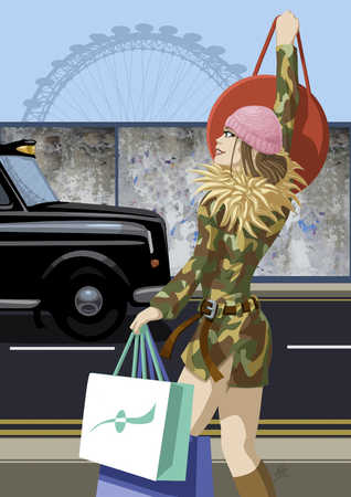 Woman Hailing Cab With Shopping Bags