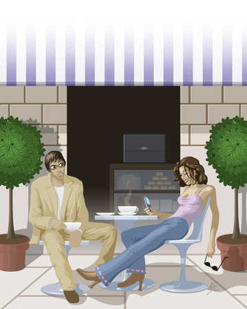 Two people sitting at an outdoor cafe