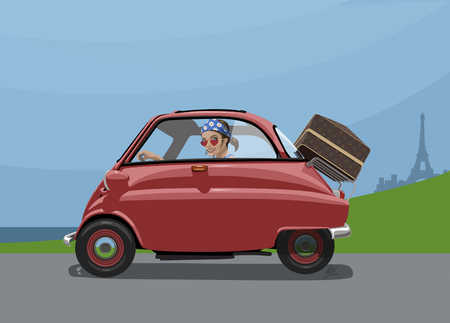Woman in France traveling by car