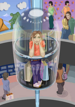 Teenager In An Elevator Inside Of A Mall