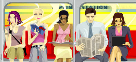 People Sitting On The Subway