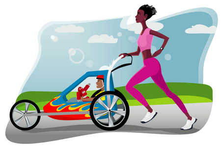 Mother jogging with baby stroller