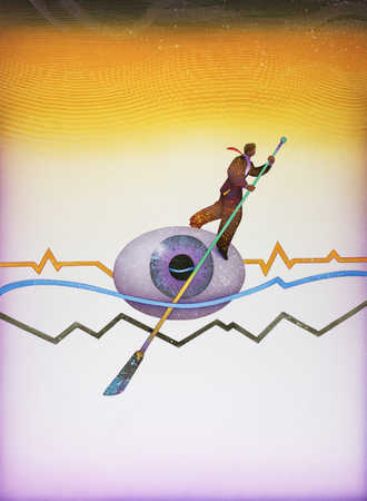 Businessman rowing on an eyeball in the middle of three line graphs