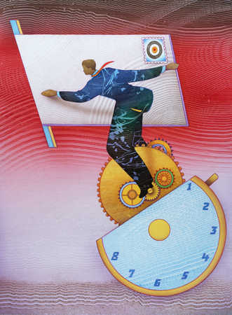 Businessman balancing on a clock holding a letter