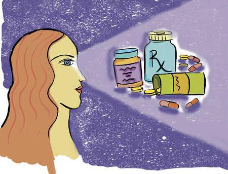 Woman gazing at prescription drugs