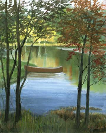 Canoe moored on the shore of a lake