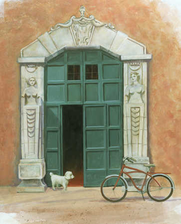 Dog standing in a doorway with parked bicycle