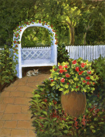 Pathway into a garden with a cat sitting under a bench