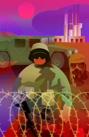 Military soldier and jeep surrounded by a barbed wired fence