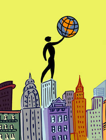 Person standing on a city skyline holding a small globe