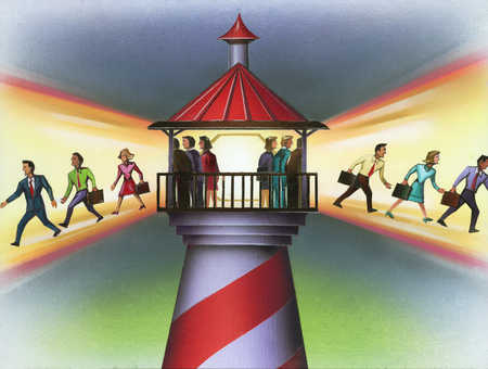 Businesspeople walking out of the light of a lighthouse