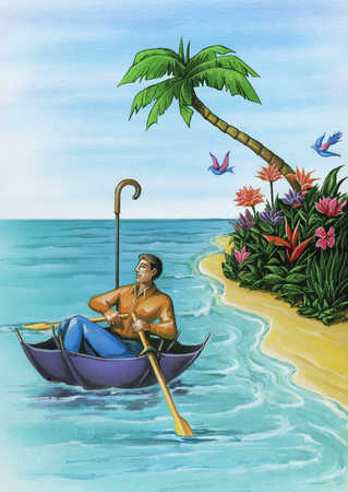 Man rowing an umbrella boat in a tropical setting