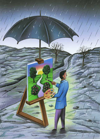 Man painting colorful picture in gloomy rain under umbrella