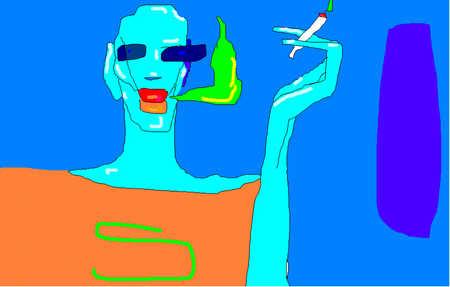 Person relaxing, enjoying a cigarette