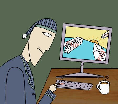 Man sitting at a computer at night