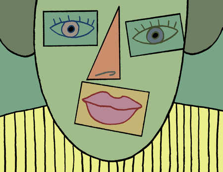 Woman with geometrical shapes for facial features