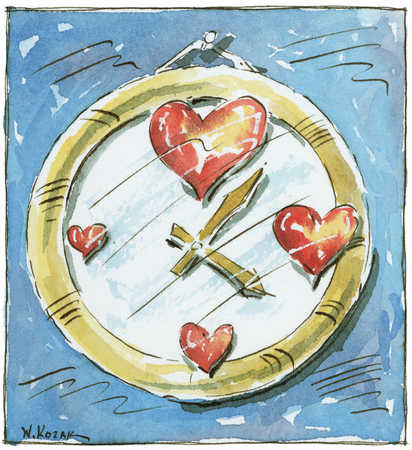 Clock with various sized hearts