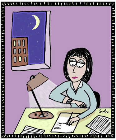 Woman At Desk Working Late