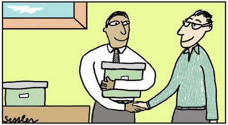 Two Men Shaking Hands In Office