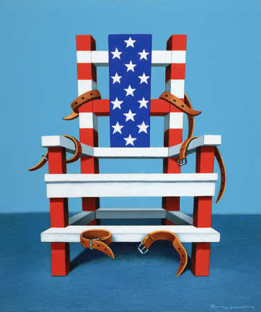 Electric chair with colors of American Flag