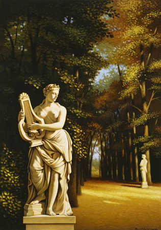 Sculpture of person with harp