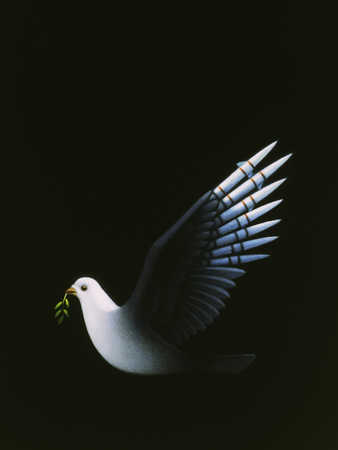 White Dove flying with leaves in its mouth
