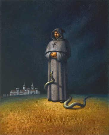 Snake climbing up a monk's robe