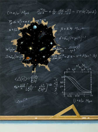 A hole blasted through a blackboard covered with formulas