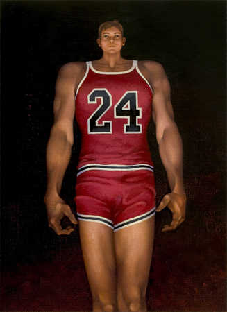 Large basketball player's body with a very small head
