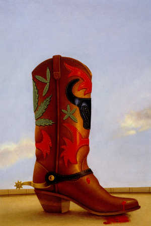 Close up of a decorated cowboy boot