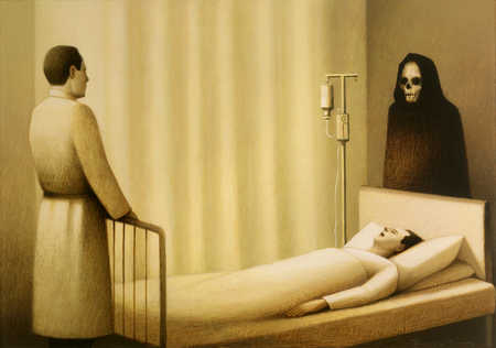Man with a priest and death on both ends of a bed