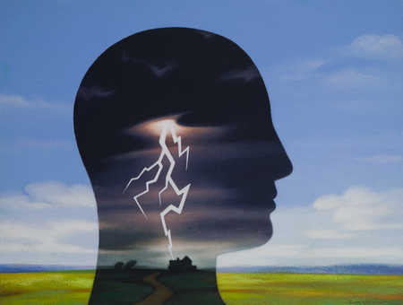 Thunderstorm inside person's head