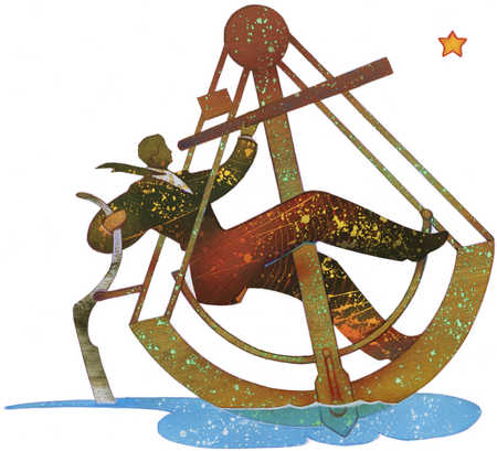 Sitting in a sextant using stars to navigate