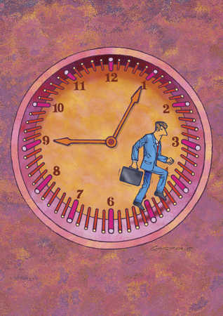 Man on running wheel with clock in background