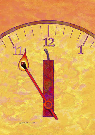 Hands of clock as match lighting dynamite