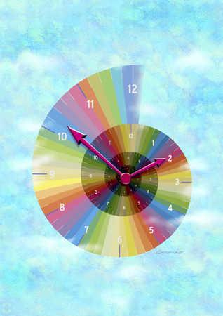 Multicolored spiral clock