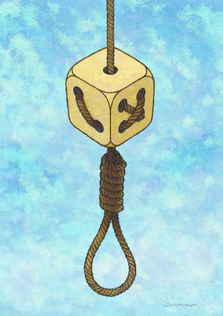 Hanging noose with rope thru dice