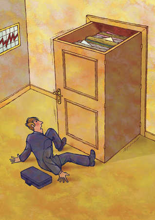 Man knocked over from door as full filing cabinet