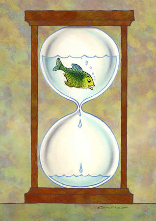 Hourglass with fish in water